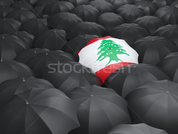 Esernyő zászló Libanon fekete esernyők eső Stock fotó © MikhailMishchenko
