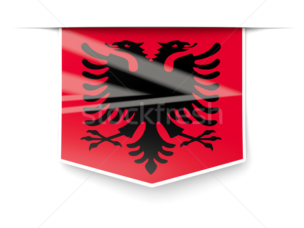 Cuadrados etiqueta bandera Albania aislado blanco Foto stock © MikhailMishchenko