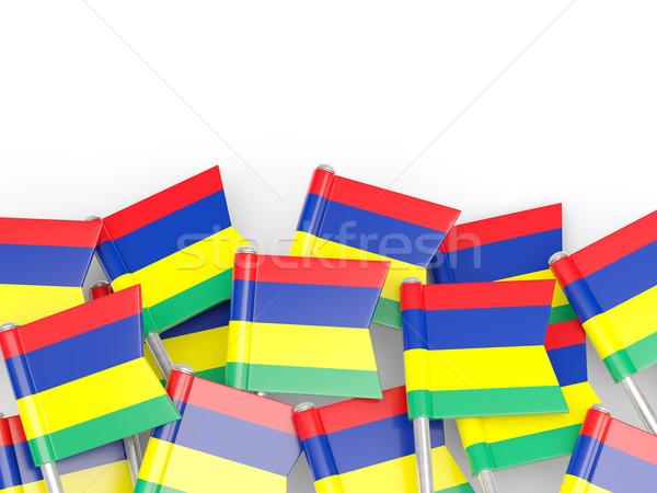 флаг Pin Маврикий изолированный белый фон Сток-фото © MikhailMishchenko