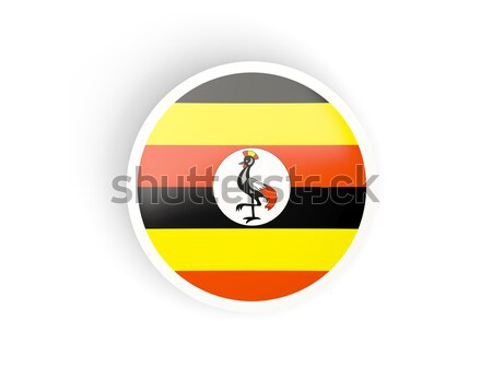 Pulsante bandiera Uganda metal frame viaggio Foto d'archivio © MikhailMishchenko