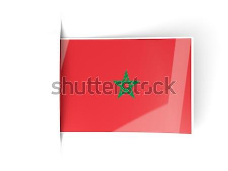 Tér címke zászló Marokkó izolált fehér Stock fotó © MikhailMishchenko