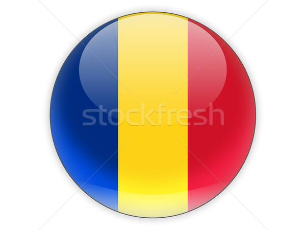 Icona bandiera Romania isolato bianco viaggio Foto d'archivio © MikhailMishchenko