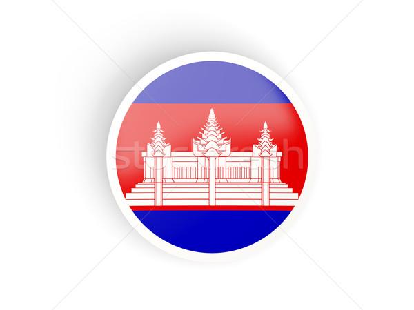 Sticker vlag Cambodja geïsoleerd witte reizen Stockfoto © MikhailMishchenko