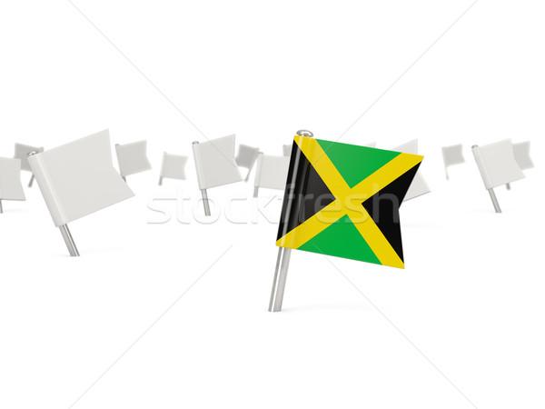 Kare pin bayrak Jamaika yalıtılmış beyaz Stok fotoğraf © MikhailMishchenko