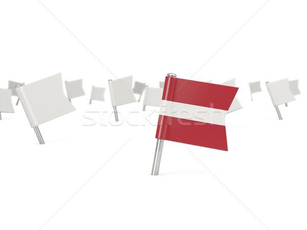 Tér tő zászló Lettország izolált fehér Stock fotó © MikhailMishchenko
