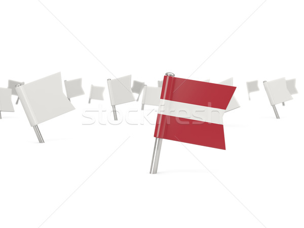 Vierkante pin vlag Letland geïsoleerd witte Stockfoto © MikhailMishchenko