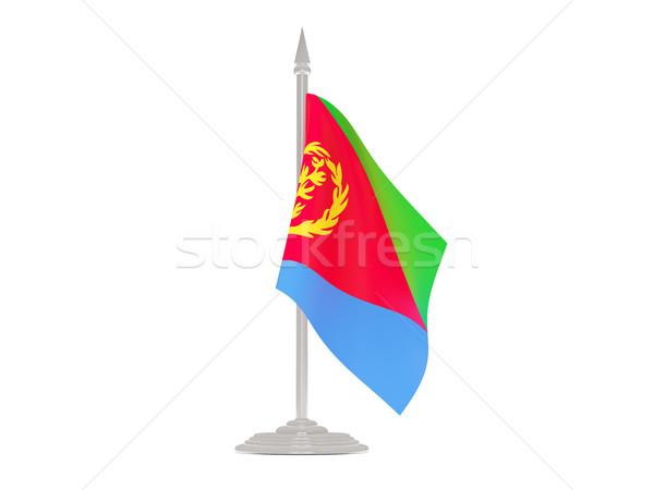 Banderą Erytrea maszt 3d odizolowany biały Zdjęcia stock © MikhailMishchenko