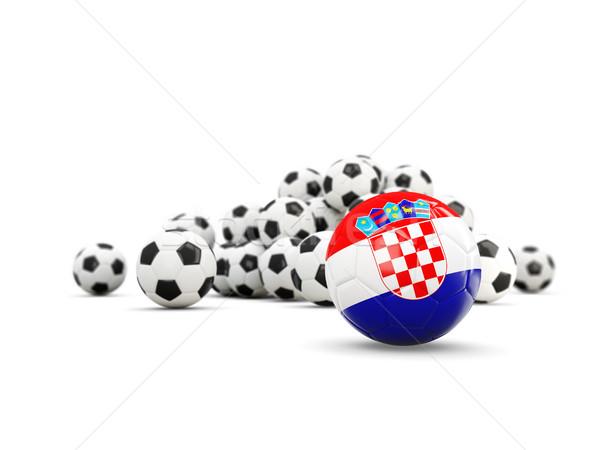 Futbol bayrak yalıtılmış beyaz 3d illustration spor Stok fotoğraf © MikhailMishchenko