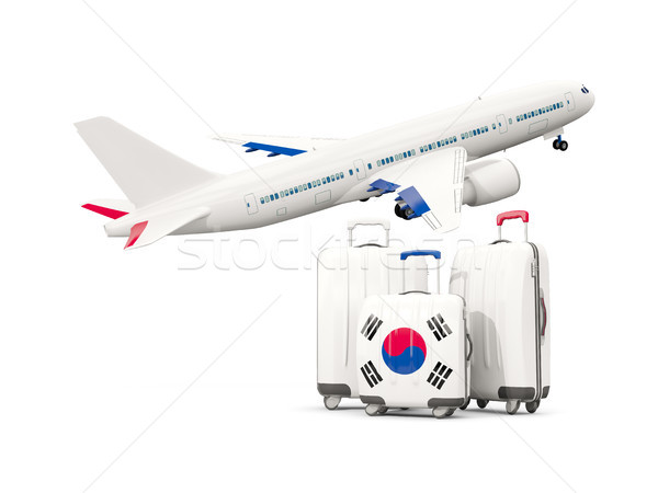 Bagagem bandeira sul três sacos avião Foto stock © MikhailMishchenko