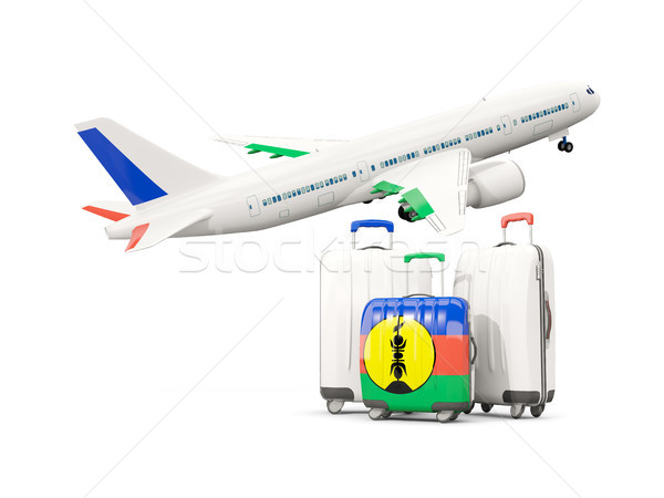 Luggage with flag of new caledonia. Three bags with airplane Stock photo © MikhailMishchenko