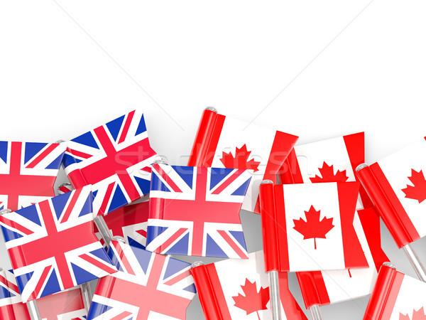 Flag pins of United Kingdom and Canada isolated on white Stock photo © MikhailMishchenko