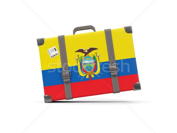 Luggage with flag of ecuador. Suitcase isolated on white Stock photo © MikhailMishchenko