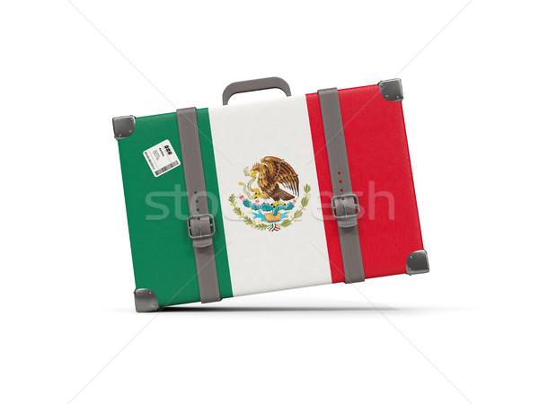 Bagażu banderą Meksyk walizkę odizolowany biały Zdjęcia stock © MikhailMishchenko