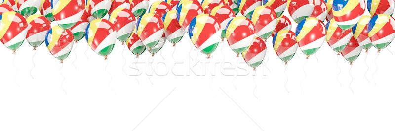 Léggömbök keret zászló Seychelle-szigetek izolált fehér Stock fotó © MikhailMishchenko
