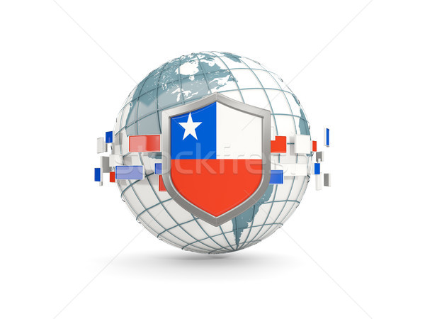 Globe and shield with flag of chile isolated on white Stock photo © MikhailMishchenko
