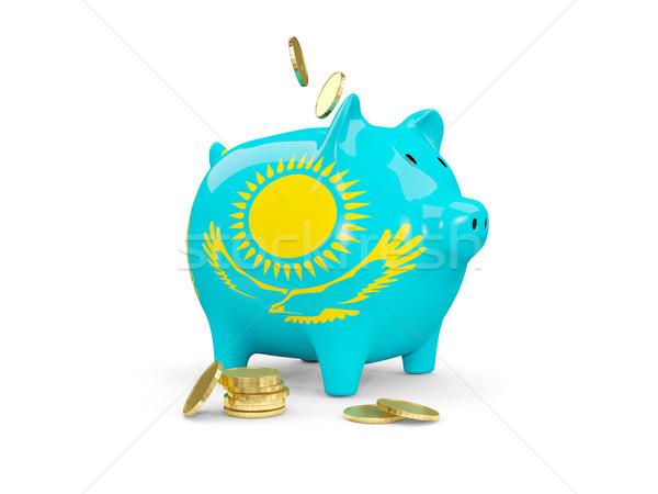 жира Piggy Bank Казахстан деньги изолированный белый Сток-фото © MikhailMishchenko