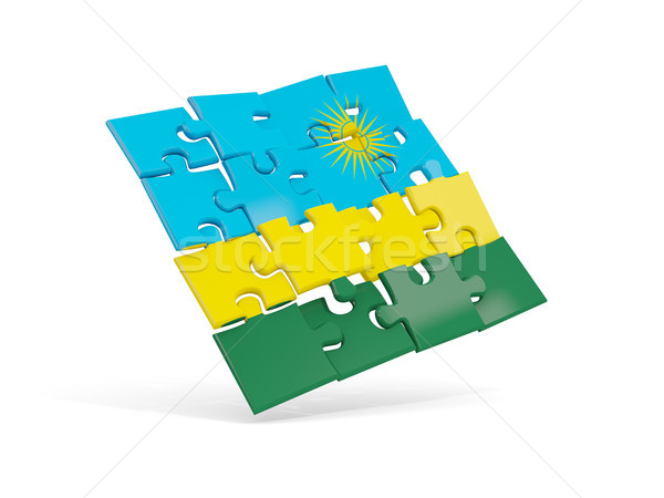 головоломки флаг Руанда изолированный белый 3d иллюстрации Сток-фото © MikhailMishchenko