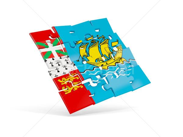 Puzzle flag of saint pierre and miquelon isolated on white Stock photo © MikhailMishchenko