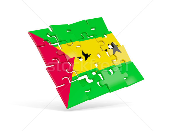 Puzzle flag of sao tome and principe isolated on white Stock photo © MikhailMishchenko