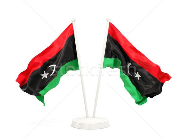 Dwa flagi Libia odizolowany biały Zdjęcia stock © MikhailMishchenko