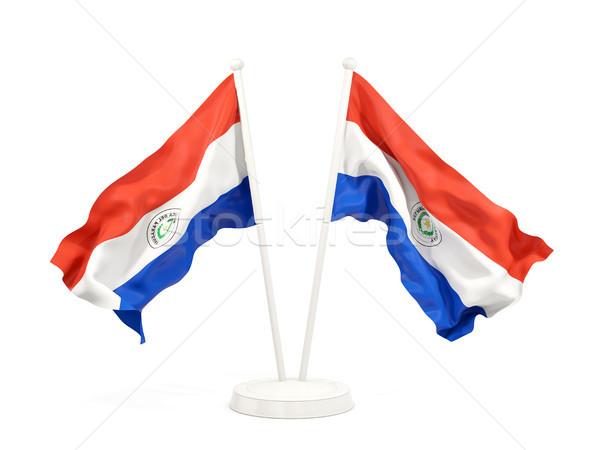 Dwa flagi Paragwaj odizolowany biały Zdjęcia stock © MikhailMishchenko