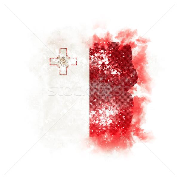 Vierkante grunge vlag Malta 3d illustration retro Stockfoto © MikhailMishchenko