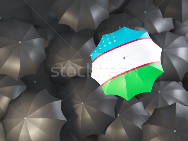 зонтик флаг Узбекистан Top черный Сток-фото © MikhailMishchenko