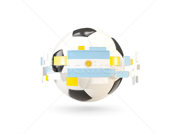 Soccer ball with line of flags. Flag of argentina Stock photo © MikhailMishchenko