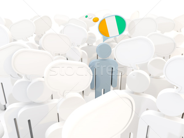 Man with flag of cote d Ivoire in a crowd Stock photo © MikhailMishchenko