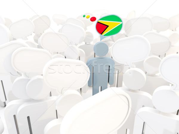 Man vlag Guyana menigte 3d illustration teken Stockfoto © MikhailMishchenko
