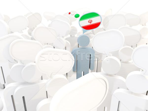 Adam bayrak İran kalabalık 3d illustration imzalamak Stok fotoğraf © MikhailMishchenko
