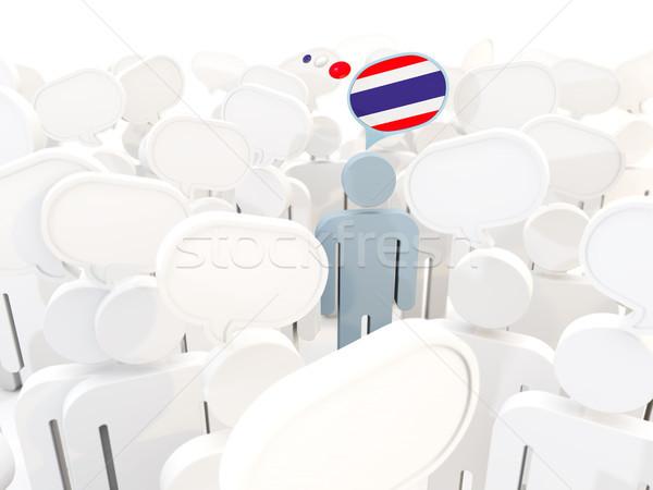 Hombre bandera Tailandia multitud 3d signo Foto stock © MikhailMishchenko