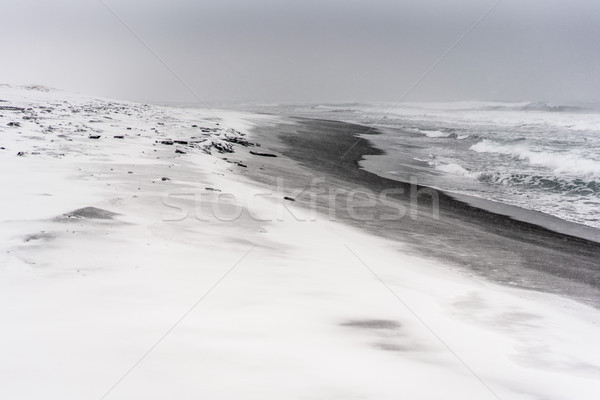 Stock fotó: Hóvihar · tengerpart · óceán · fekete · homok · tenger