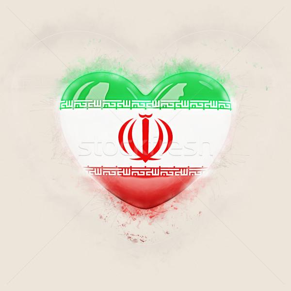 Coração bandeira Irã grunge ilustração 3d viajar Foto stock © MikhailMishchenko