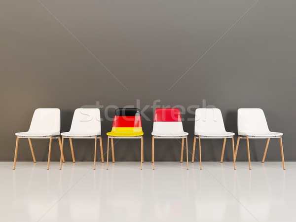 Chairs with flag of Germany and indonesia in a row Stock photo © MikhailMishchenko