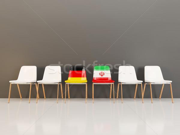Székek zászló Németország Irán csetepaté 3d illusztráció Stock fotó © MikhailMishchenko