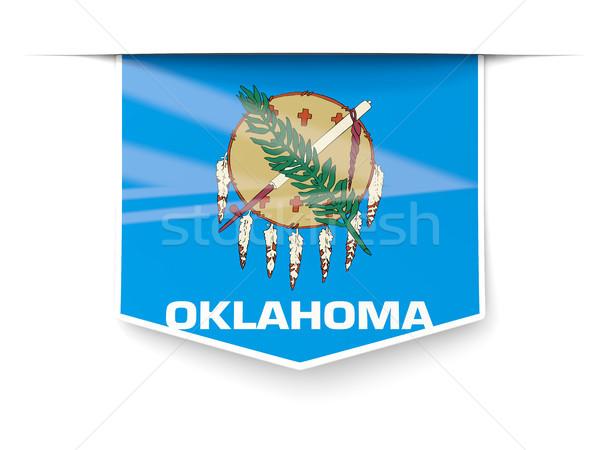 Oklahoma vlag vierkante label schaduw Verenigde Staten Stockfoto © MikhailMishchenko