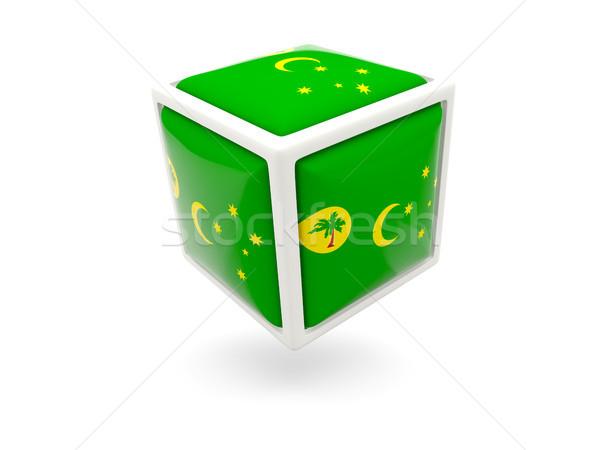 Flag of cocos islands. Cube icon Stock photo © MikhailMishchenko