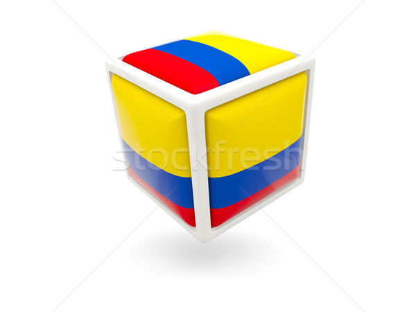 Bandeira Colômbia cubo ícone isolado branco Foto stock © MikhailMishchenko