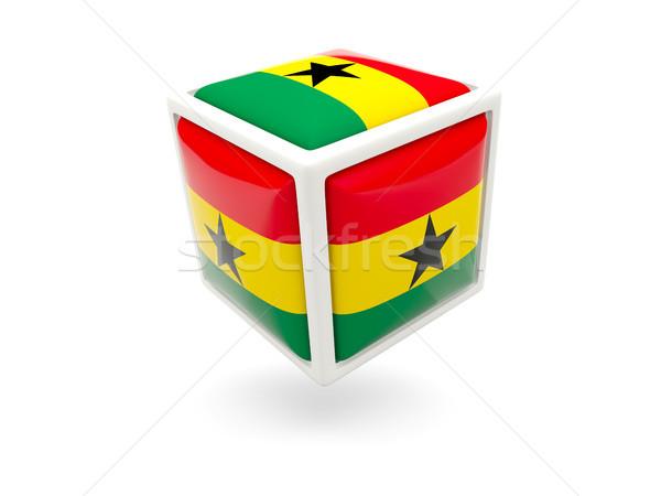 Stok fotoğraf: Bayrak · Gana · küp · ikon · yalıtılmış · beyaz
