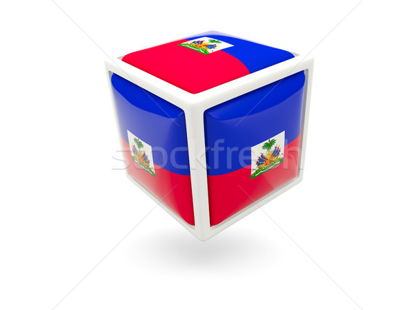 Pavillon Haïti cube icône isolé blanche Photo stock © MikhailMishchenko
