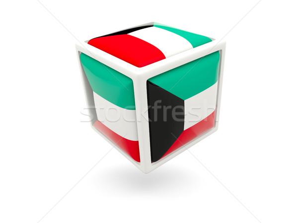 Bandeira Kuweit cubo ícone isolado branco Foto stock © MikhailMishchenko