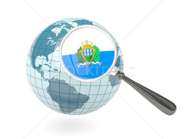 Stok fotoğraf: Bayrak · San · Marino · mavi · dünya · yalıtılmış