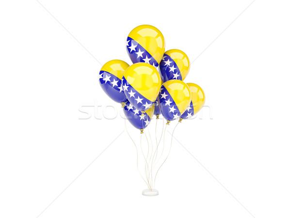 Vuelo globos bandera Bosnia Herzegovina aislado blanco Foto stock © MikhailMishchenko