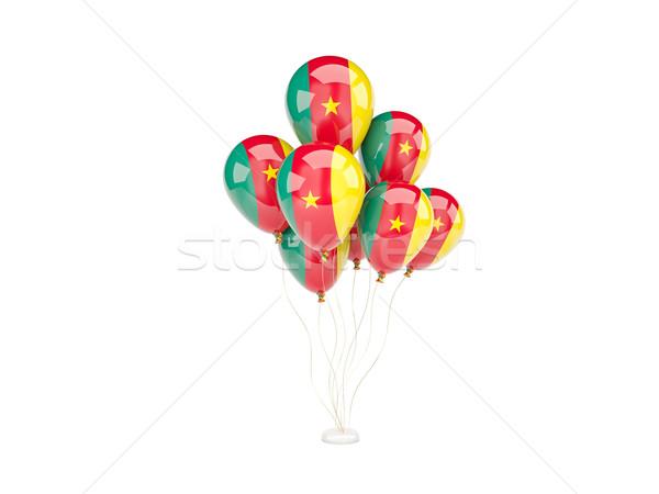 Pływające balony banderą Kamerun odizolowany biały Zdjęcia stock © MikhailMishchenko