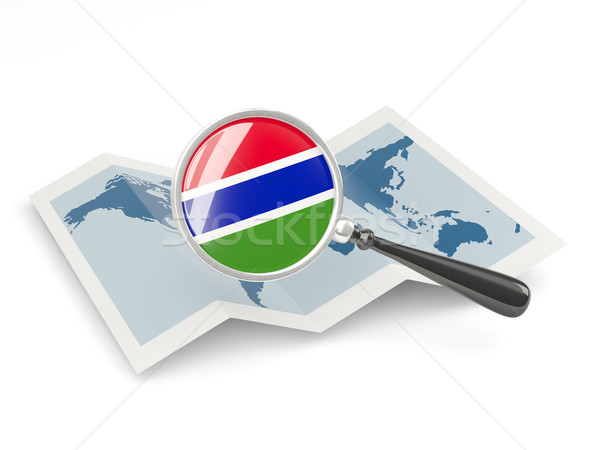 Magnified flag of gambia with map Stock photo © MikhailMishchenko