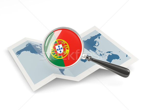Magnified flag of portugal with map Stock photo © MikhailMishchenko