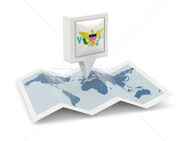 Vierkante pin vlag USA Virgin Islands kaart Stockfoto © MikhailMishchenko