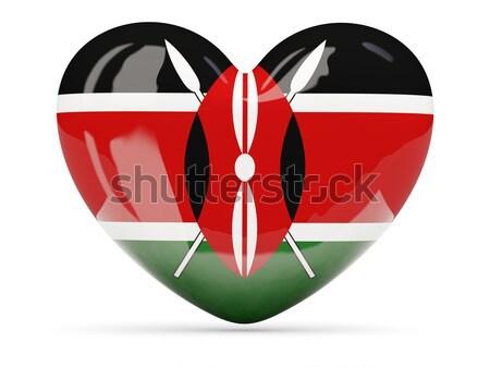 Icône pavillon Kenya isolé blanche Voyage Photo stock © MikhailMishchenko