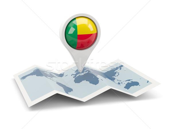 Pin bandiera Benin mappa viaggio bianco Foto d'archivio © MikhailMishchenko
